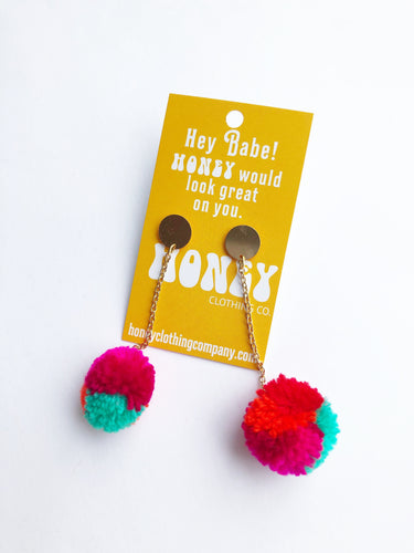 Mini Statement Pom Pom Earrings: Multicolor