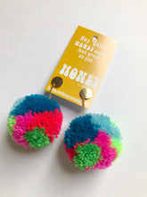 Load image into Gallery viewer, Large Statement Pom Pom Earrings: Rainbow Multicolor