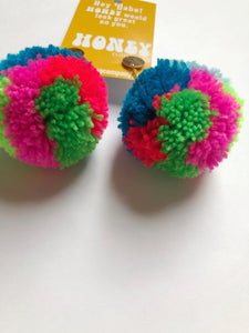 Large Statement Pom Pom Earrings: Rainbow Multicolor