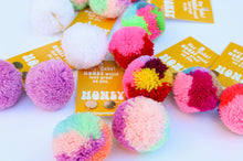 Load image into Gallery viewer, Large Statement Pom Pom Earrings: Pastel Multicolor