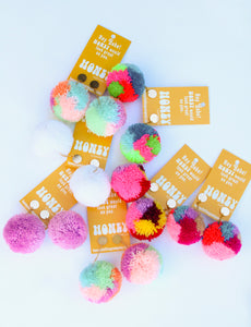 Large Statement Pom Pom Earrings: Pastel Multicolor