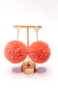 Large Statement Pom Pom Earrings: Blush