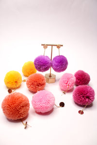 Large Statement Pom Pom Earrings: Berry