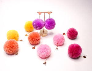 Large Statement Pom Pom Earrings: Lilac