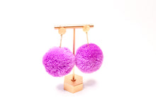Load image into Gallery viewer, Large Statement Pom Pom Earrings: Lilac