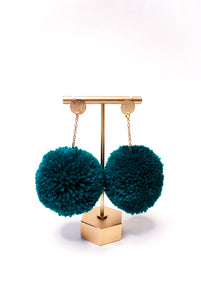 Large Statement Pom Pom Earrings: Ocean
