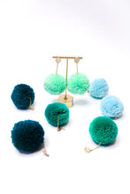 Load image into Gallery viewer, Large Statement Pom Pom Earrings: Ocean