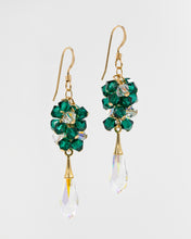 Load image into Gallery viewer, Picture of gold earrings with emerald Swarovski crystals and teardrop