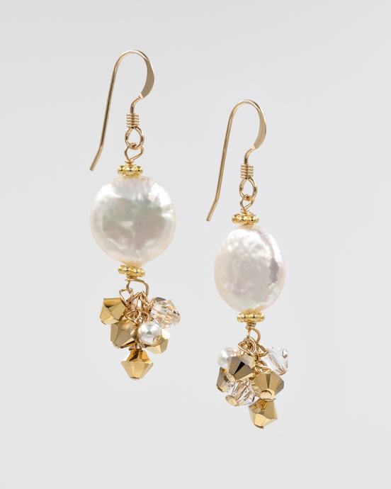 Picture of earrings with coin pearls and Swarovski crystal and pearls
