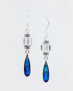 Picture of earrings with Swarovski blue drops and crystal rondelles