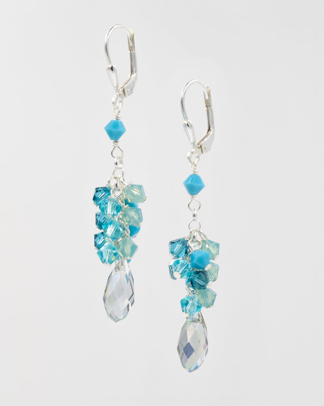 Picture of earrings with turquoise and blue Swarovski crystal