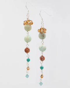 Picture of earrings with Amazonite, Swarovski crystal, and pearls