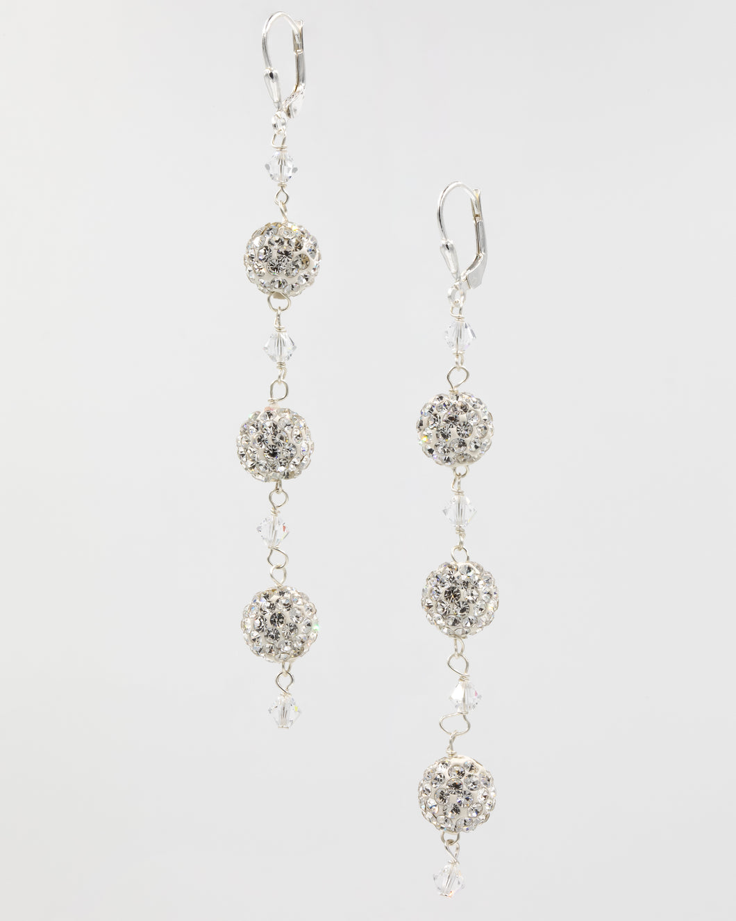 Picture of earrings with Swarovski crystal and pavé balls