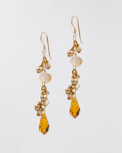 Load image into Gallery viewer, Picture of short earrings with citrine colored Swarovski crystal and pearls