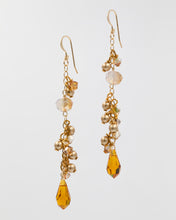 Load image into Gallery viewer, Picture of long earrings with citrine colored Swarovski crystal and pearls