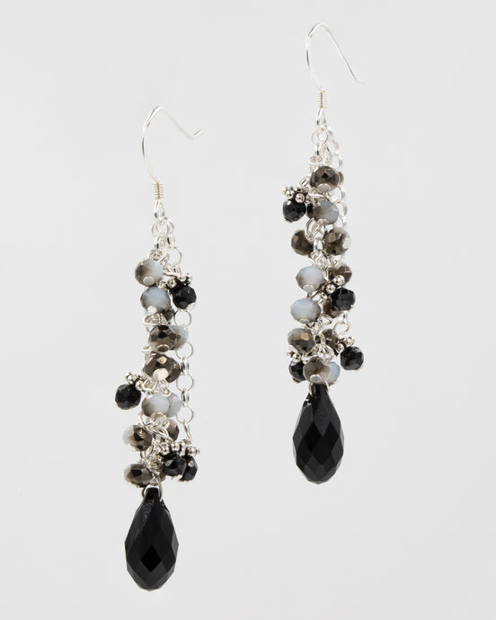 Picture of long earrings with Swarovski crystals and black spinel