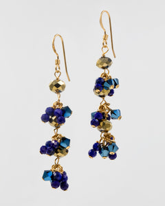 Picture of earrings with lapis and Swarovski crystal