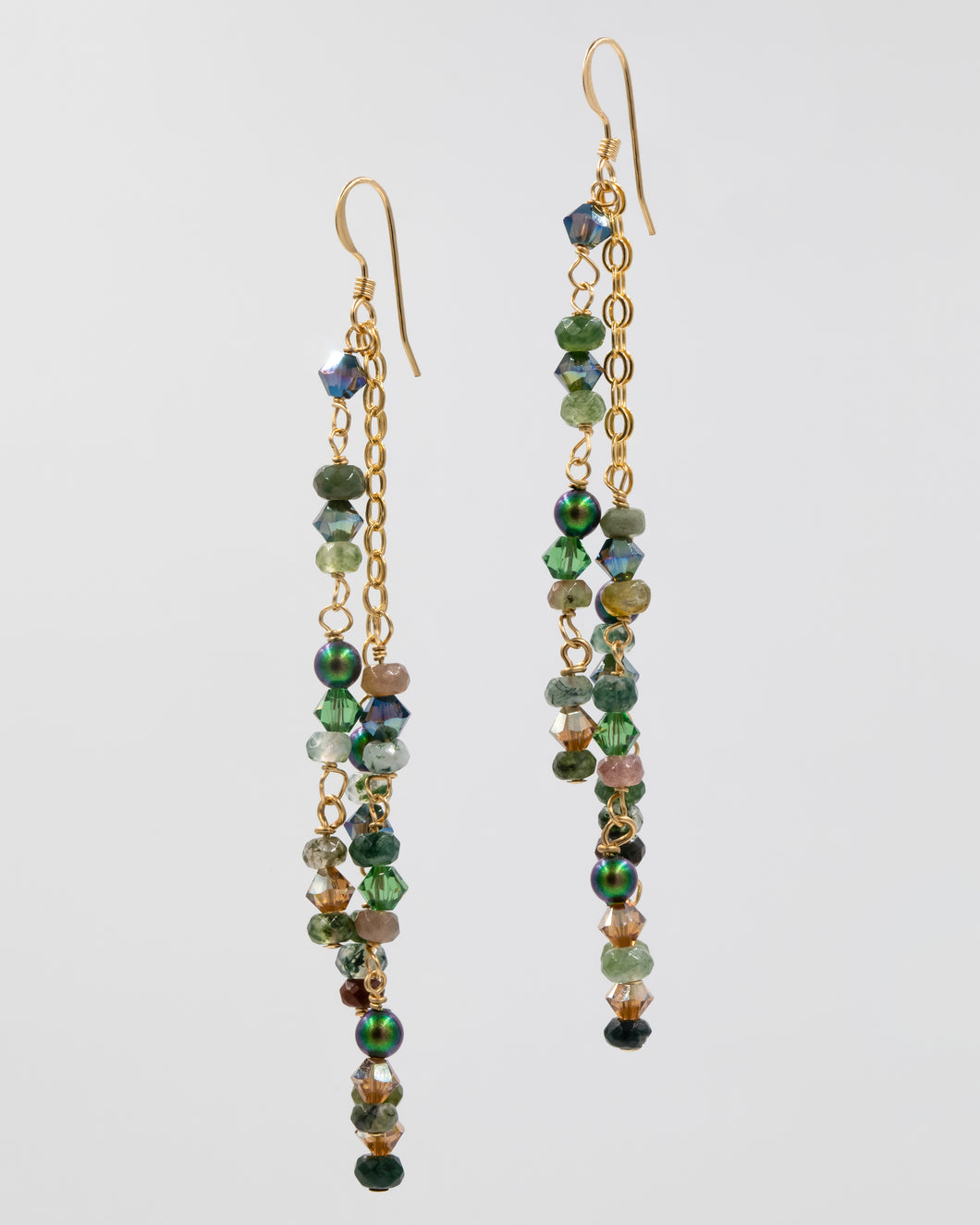 Picture of earrings with moss agate, Swarovski crystal, and pearls