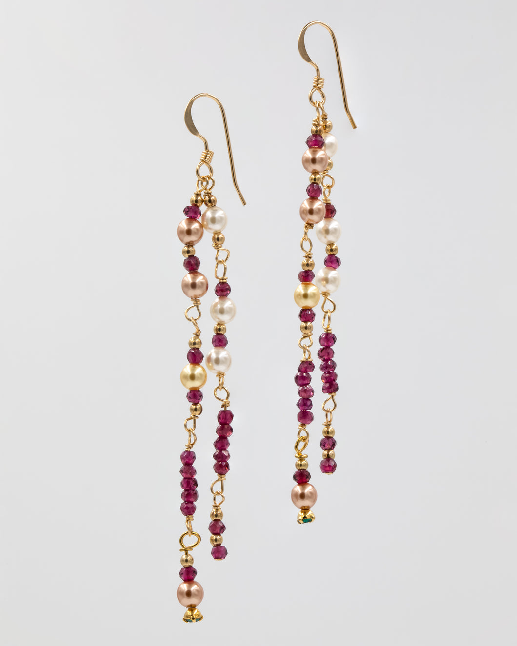 Picture of earrings with garnets and Swarovski pearls