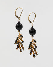 Load image into Gallery viewer, Picture of short earrings with black onyx and Chinese crystal
