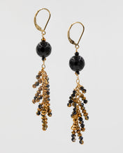 Load image into Gallery viewer, Picture of long earrings with black onyx and Chinese crystal