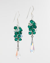 Load image into Gallery viewer, Picture of silver earrings with emerald Swarovski crystals and teardrop
