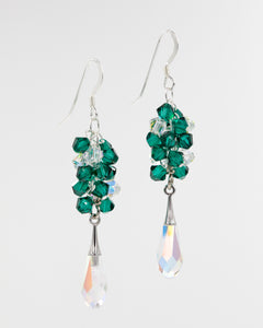 Picture of silver earrings with emerald Swarovski crystals and teardrop