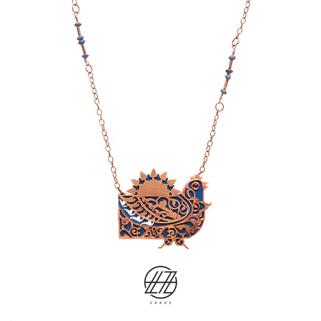 Handcrafted Enameled Copper Necklace Inspired by Phoenix with Azure Stone