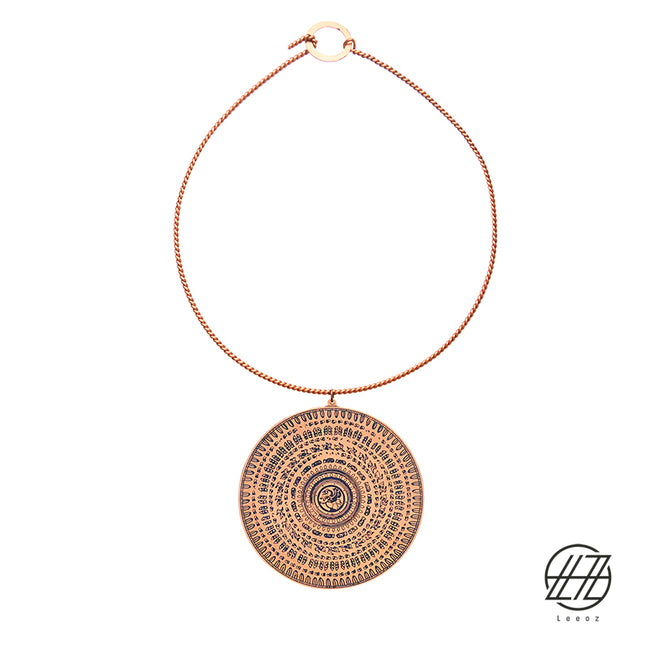 Handcrafted Enameled Copper Necklace Inspired by Ancient Persian Myth