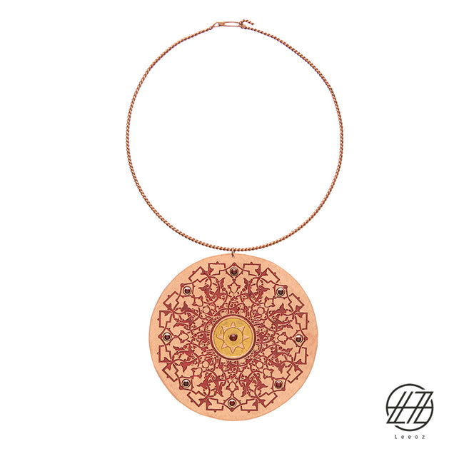 "Handcrafted Enameled Copper Necklace Inspired by The God of Light "" Mitra"""