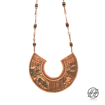 "Handcrafted Enameled Copper and Wood Necklace Inspired by Ancient Sumerian/ Mesopotamian Imprint "" Ziggurat """
