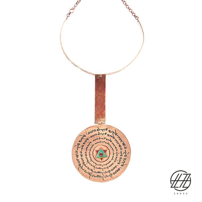 Handcrafted Enameled Copper and Turquoise  Necklace Inspired by Ancient Pahlavi Scripts and Esther