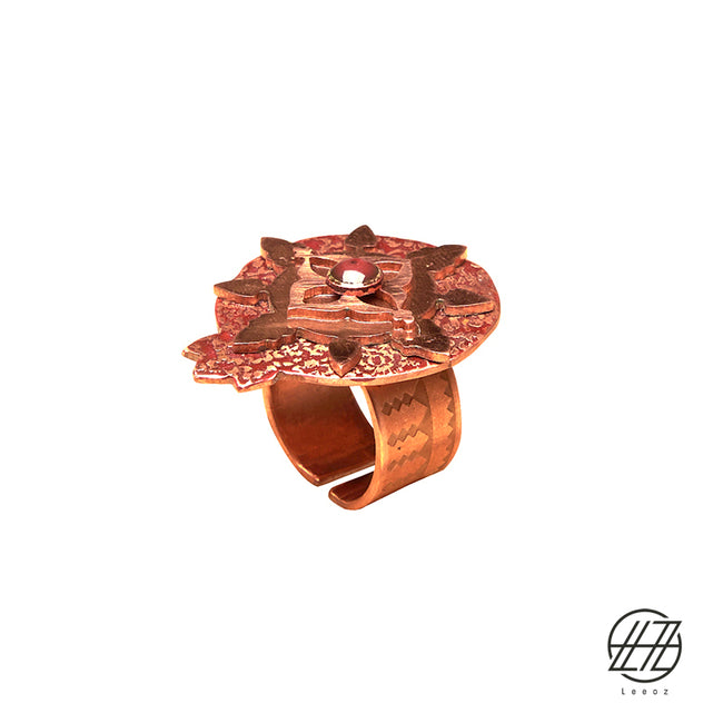 "Handcrafted Enameled Copper Pomegranate "" Anar"" Ring"