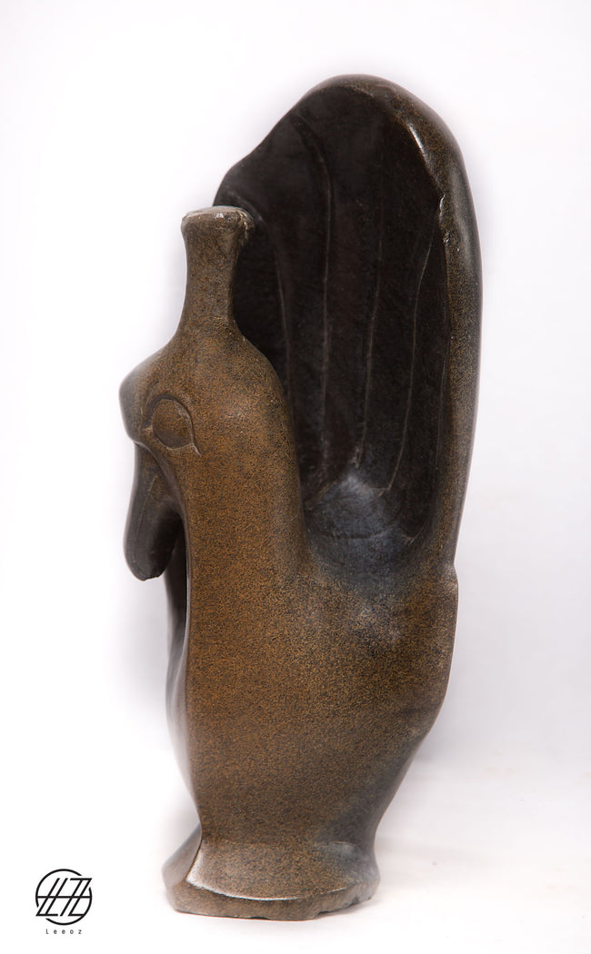 Peacock, Hand Carved Vintage African Springstone Sculpture