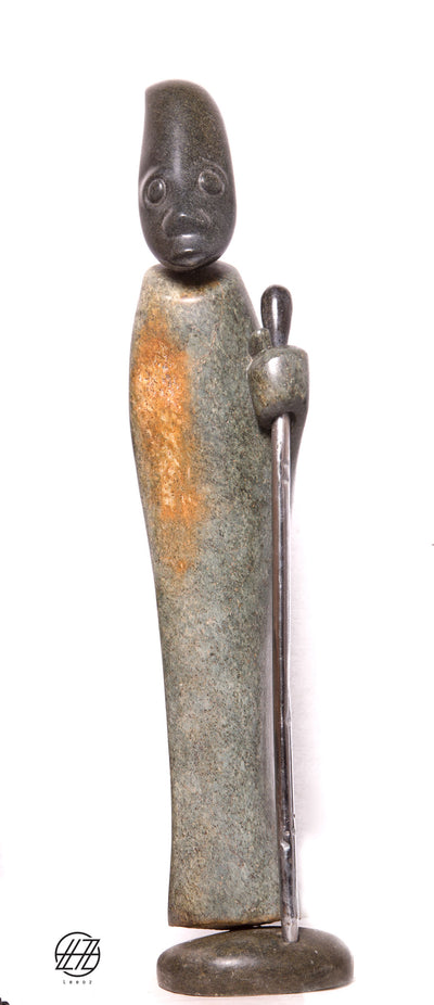 Arrogant Man, Hand Carved Vintage African Serpentine and Opal Stone Sculpture
