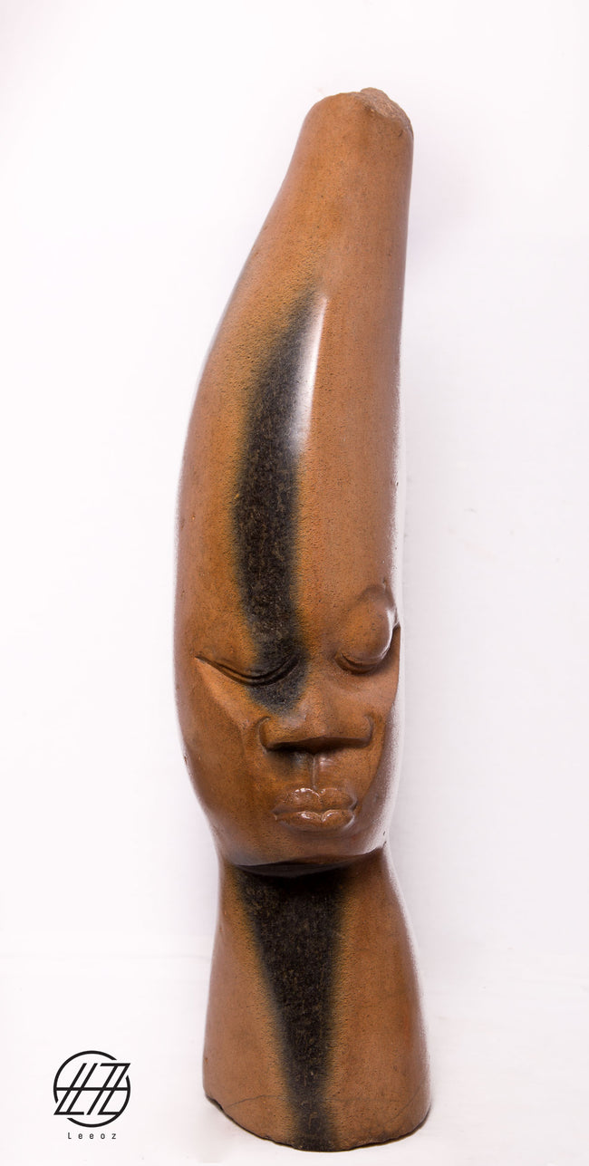 Dream Head, Hand Carved Vintage African Springstone Sculpture