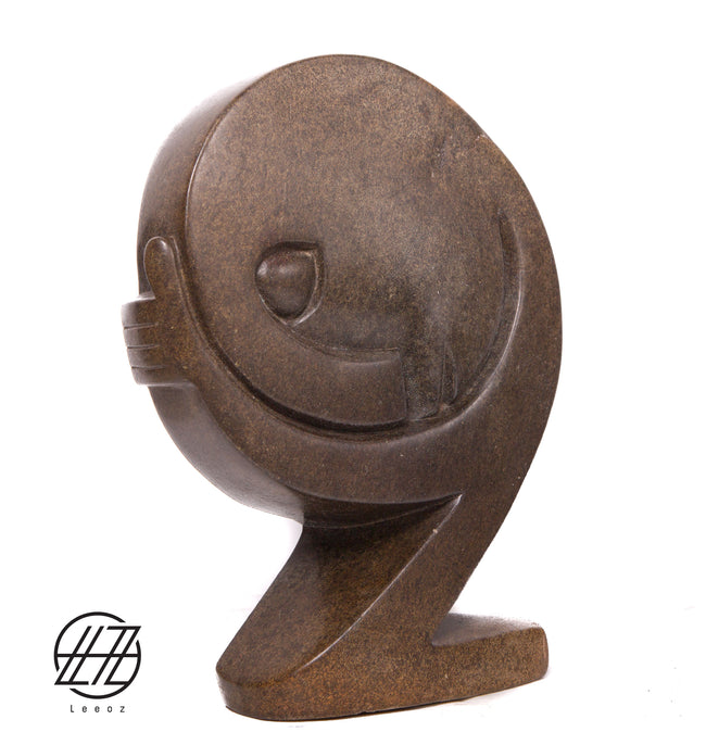 Sleep Man, Hand Carved Vintage African Spring Stone Sculpture