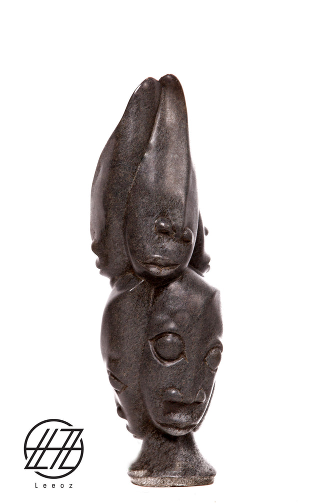 The Head, Hand Carved Vintage African Spring Stone Sculpture