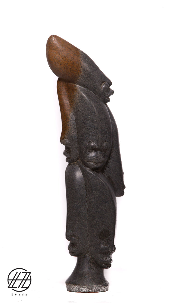 Heads, Hand Carved Vintage African Spring Stone Sculpture