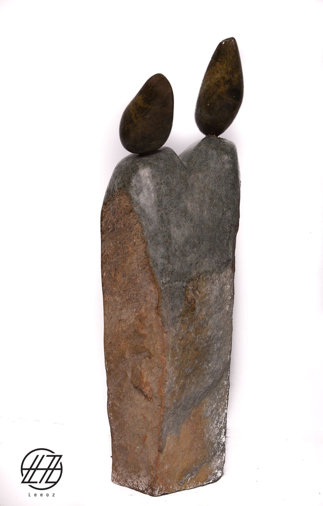 Fraternal Twins, Hand Carved Vintage African Opal and Serpentine Stone Sculpture