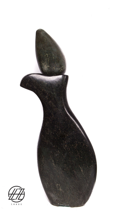 Paranda, Hand Carved Vintage African Serpentine and Opal Stone Sculpture