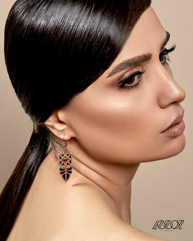 Handcrafted Enameled Copper Earring Inspired by Ancient Persian Sasanian's Flower