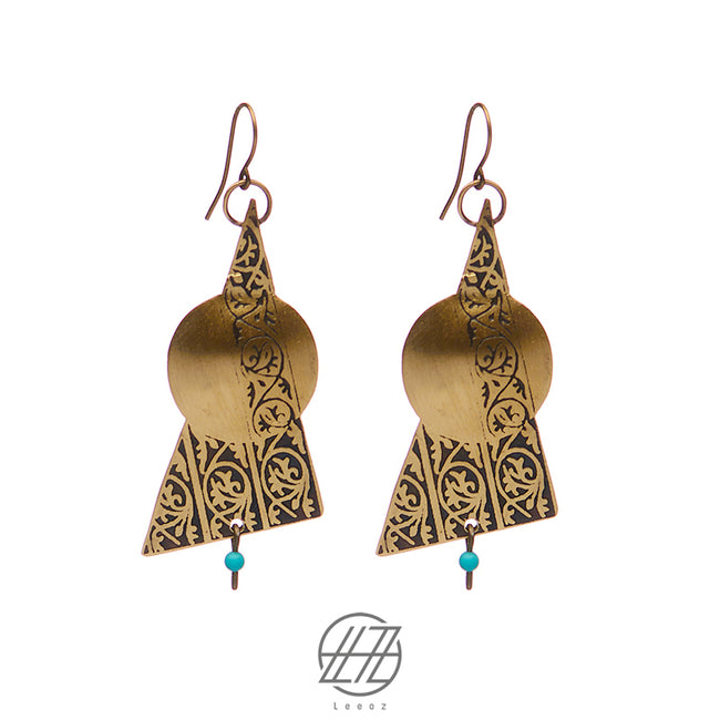 Handmade Etched Brass, Turquoise stone, Golden Eclipse Earring