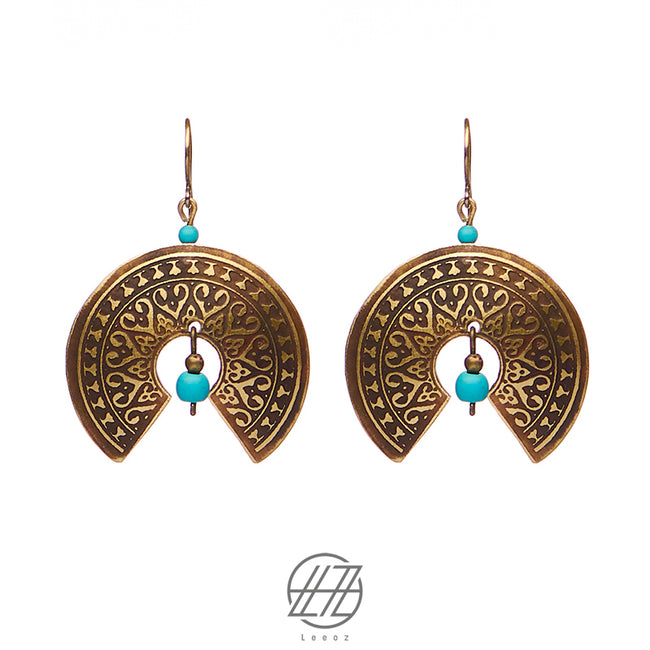 Handmade Etched Brass, Turquoise Stone, Rotary Dome Earring