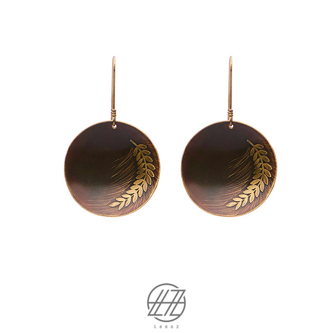 Handmade Etched Brass, The Golden Harvest Earring