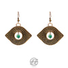 Handmade Etched Brass, Green Quartz, The Orient Gaze Earring