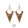 Handmade Brass, Pink Quartz, The Magic Cuneiform Earring