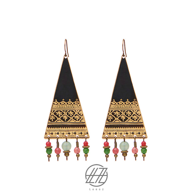 Handmade Etched Brass, Green and Red Jade, Dancing Tent Earring