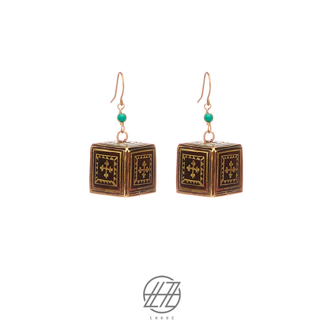 The Handmade Etched Brass, Tibetan Turquoise, The Cube Puzzle Earring