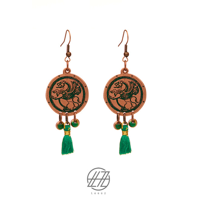 Handcrafted Enameled Copper Earring with Green Tassel, Inspired by Ancient Persian Myth